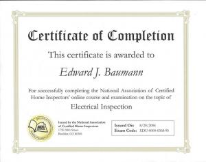 Electrical inspection certificate