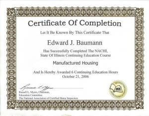 Manufactured Housing Certififcate