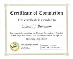 Roofing Inspection Certificate