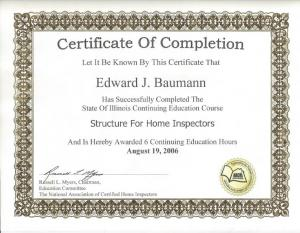 Structure Inspection Certificate