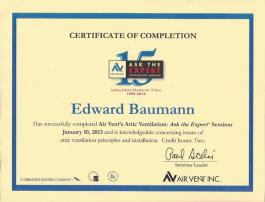 Air Vent Ventilation Certificate