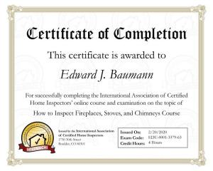 Certificate of Completion  How to inspect fireplaces,stoves, and chimneys